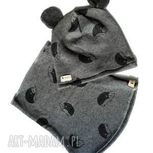 komplet czapka komin jeŻ - czapka, uszy, komin, nadruk, jesień, prezent