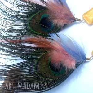 klipsy pióra wiszące długie etno, klipsy, boho, kolorowe, folk, damskie
