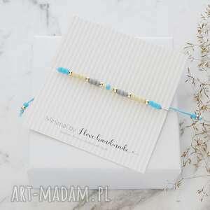 Bransoletka minimal - autumn blue srebrna ilovehandmade
