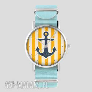 ręczne wykonanie zegarki zegarek, bransoletka - kotwica, żółta niebieski