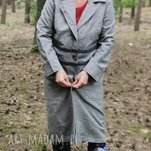 płaszcz damski szary materiał z domieszką wełny, rozmiar m/l pacha-pacha 54cm