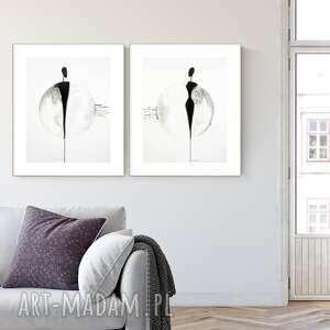 zestaw 2 grafik 40x50 cm wykonanych ręcznie, elegancki minimalizm, obraz