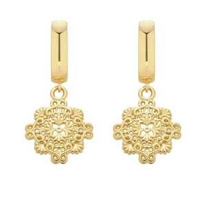 złote kolczyki z rozetką - pozłacane, wiszące, eleganckie
