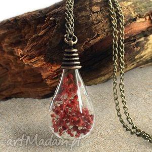 romantyczna czerwień - naszyjnik żarówka z prawdziwymi, romantyczny