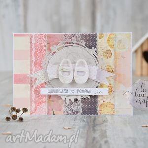 scrapbooking kartki narodziny - gratulacje z pantofelkami, narodziny