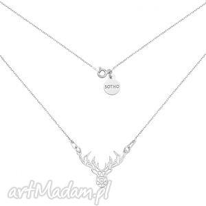 sotho srebrny naszyjnik z ażurowym jelonkiem, srebro, jeleń, geometryczny