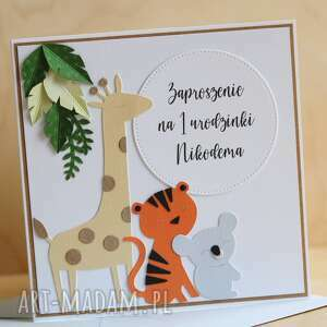 kartka lub zaproszenie na urodzinki safari, roczek, pierwsze urodziny