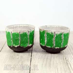 hand-made ceramika czarki biało-zielone raku