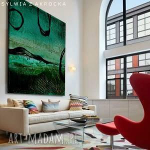 art and texture tajemnicza zielen obrazy do salonu nowoczesnego, zielona