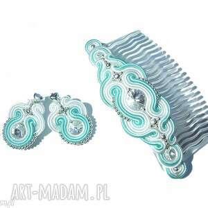 hand-made komplety kolczyki i grzebyk sutasz z kryształkami swarovski w bieli i mięcie