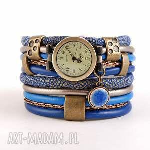 zegarki zegarek-bransoletka niebieski, z ceramiczną zawieszką, owijany, zegarek