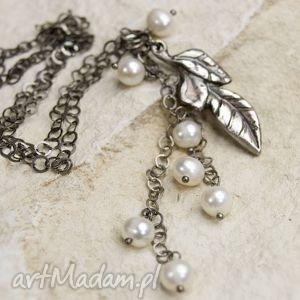 perłowy listek naszyjnik b299 - naszyjnik, srebro, srebrne, perły