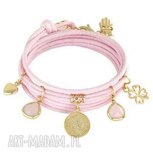 handmade bransoletki twine with charms - light pink