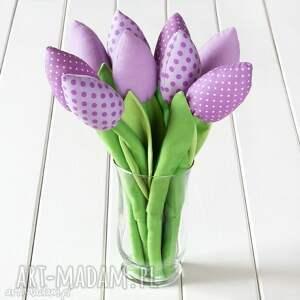 Prezent TULIPANY wrzosowy bawełniany bukiet, tulipany, kwiaty, prezent