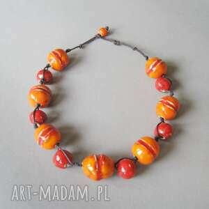 naszyjniki naszyjnik pomarańczowo - czerwone kule, naszyjnik, biżuteria, kolorowy