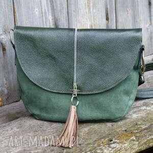 Zielona z jednym paskiem, listonoszka, zielona, pojemna, kompaktowa, lekka