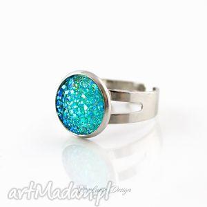 pierścionek błyszczący turkusowy, pierścionek, druzy, prezent, mieniący