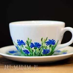 handmade kubki duża filiżanka malowana niebieskie chabry