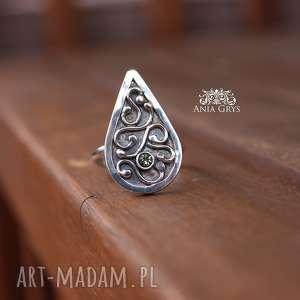 Łezka z peridotem, secesyjny, pierścionek, peridot, oliwin, aniagrys, gwiazdoo