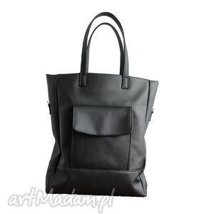 Prezent shopper bag - czarny, elegancka, nowoczesna, pakowna, prezent, lekka