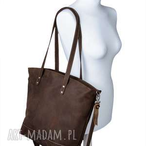 b1d0c11cadd7d na ramię ręcznie robiona skórzana torebka brązowa, brązowa torebka, damska