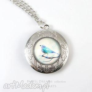 naszyjniki sekretnik, medalion, naszyjnik - turkusowy ptaszek otwierany