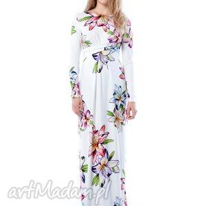 cristina maxi hypnotic lily, nadruk, lilie, suknia, długa, ślubna