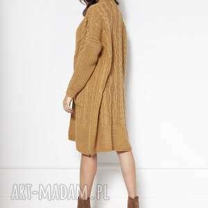 swetry swetrowy płaszcz z kieszeniami swe139 musztarda, płaszcz, ciepły, długi