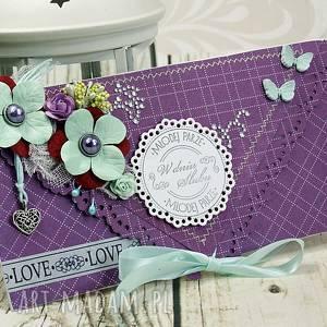 kartka ślubna- ametystowe turkusy ślub kopertówka, życzenia, wesele