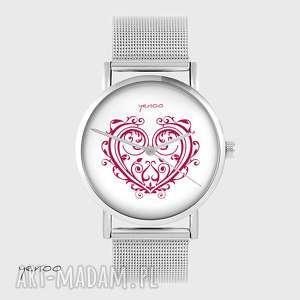 Prezent Zegarek, bransoletka - Serce ornamentowe metalowy, zegarek,