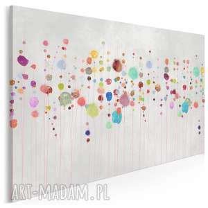 obraz na płótnie - kolorowy kropki abstrakcja 120x80 cm 69901, kwiaty