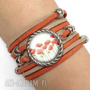 Bransoletka MAKI - ,bransoletka,maki,rudy,rzemień,kwiaty,polne,