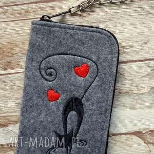 happyart filcowe etui na telefon - czarny kot, smartfon, pokrowiec, haft, kotek