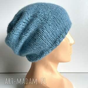 czapki ręcznie robiona czapka hand made alpaka air 21 niebieski morski
