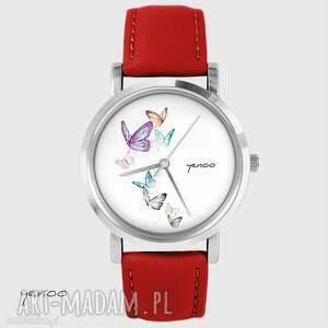 zegarek - motyle czerwony, skórzany, zegarek, pasek, motyl
