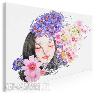 obraz na płótnie - dziewczyna portret kwiaty 120x80 cm 87801