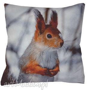 poduszka dekoracyjna wiewiórka duża, dekoracyjna, świąteczna, zimowa