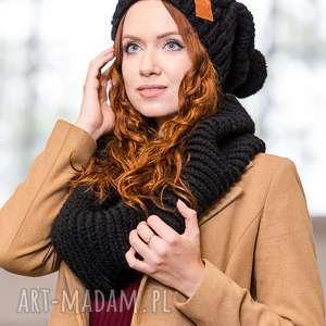 brain inside business instinct elegancki czarny, jesień, zima, czapka, włóczka