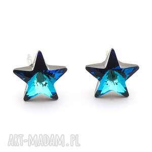 Kolczyki wkrętki z kryształkami Swarovski gwiazdki granatowe srebro 925, kryształki