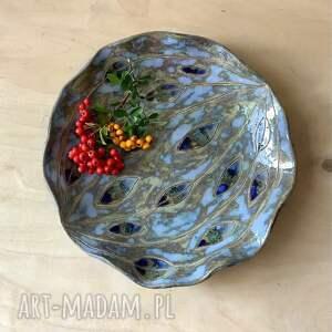hand-made ceramika misa / patera niebieskie łezki