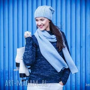 półgolf granatowo-niebieski, półgolf, sweter, wełna, melanż, granatowy swetry