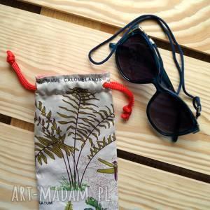 Prezent Etui / bawełniany woreczek na okulary, paprotki, kwiatowy-motyw, prezent