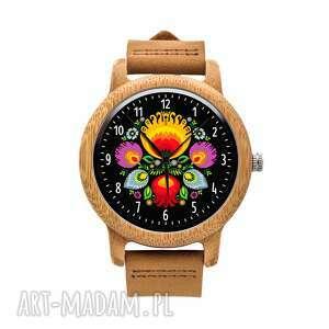 ludowelove drewniany zegarek na brązowym pasku kocham łowicz, łowickie, folk