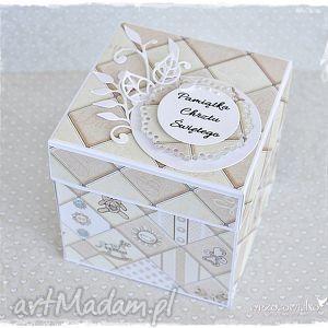 elegancki prezent - pamiątka chrztu, exploding box, pudełeczko, eksplodujące