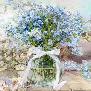 obrazy kwiaty na płótnie niezapominajki w słoju 60 x