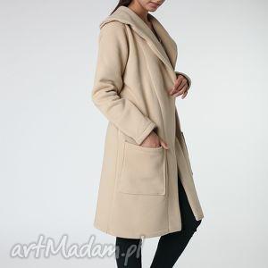 płaszcz z ciepłym kołnierzem beżowy s-m 36/38, płaszcz, beżowy, ciepły, długi