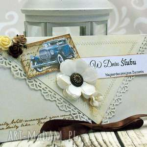 ręczne wykonanie scrapbooking kartki kopertówka ślubna- rerto car