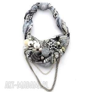 SZARE MIRAŻE naszyjnik handmade, naszyjnik, kolia, szary, srebrny, popiel, łańcuch