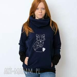 oryginalny prezent, bluza damska granatowa lis, z kominem, wzorem
