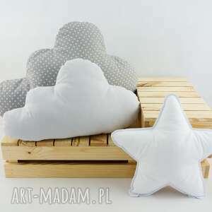 nunli zestaw 3 poduch klasyczny 2, biała gwiazdka, poduszka chmurka, szare